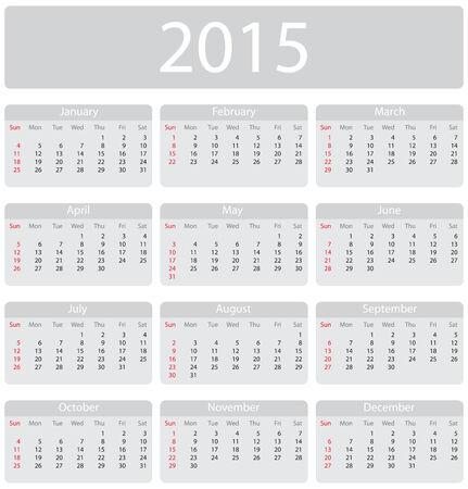 mon 12: Minimalistic 2015 calendar - week starts with sunday