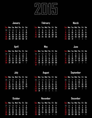 Calendar for 2015 - week starts with sunday Illustration