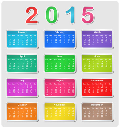 mon 12: Colorful calendar for 2015 - week starts with sunday