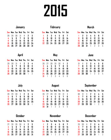mon 12: Calendar for 2015 - week starts with sunday Illustration