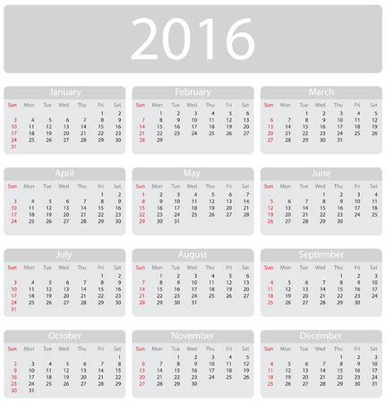 Minimalistic 2016 calendar - week starts with sunday Stock Illustratie