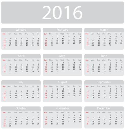 mon 12: Minimalistic 2016 calendar - week starts with sunday Illustration