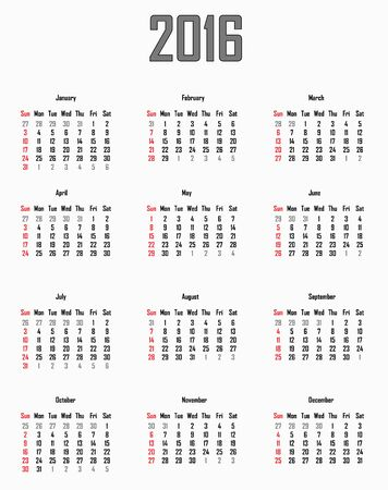 sunday: Calendar for 2016 - week starts with sunday