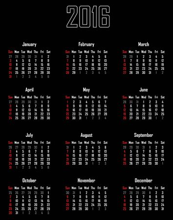 Calendar for 2016 - week starts with sunday