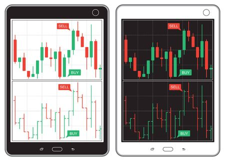 Set of black and white tablet with business charts Illustration