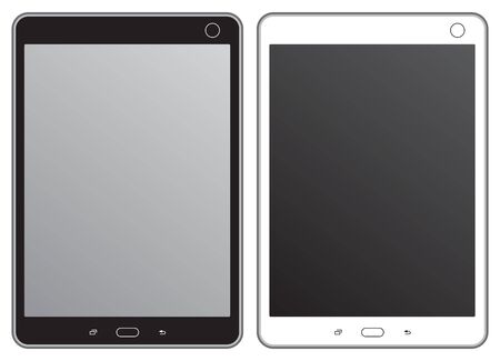 Set of black and white tablet