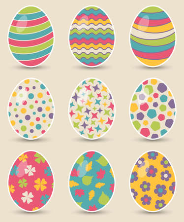 Set of nine colorful easter eggs on background