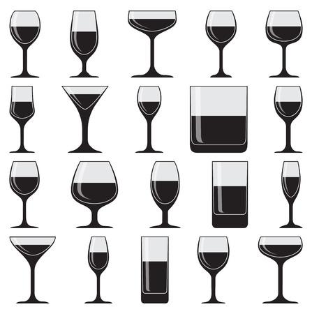 Set of twenty glasses on white background