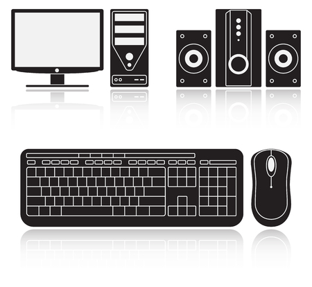 window display: Icons of computer, audio system, keyboard and mouse on white background
