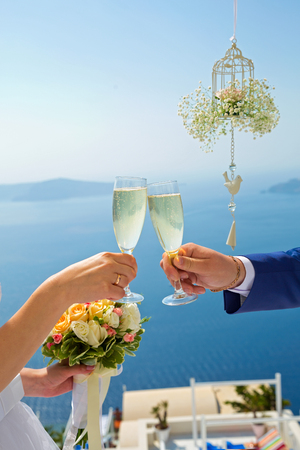 Wedding couple with champagne glasses in hands against the sea Фото со стока