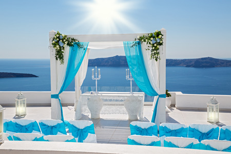 Wedding decorations with roses on the background of the sea, Greece, Santorini Stock Photo