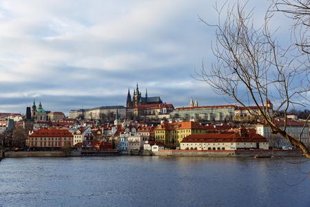Prague, Czech Republic. Prague Castle and Vltava river Editorial