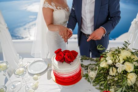 Beautiful young couple cuts the wedding cake