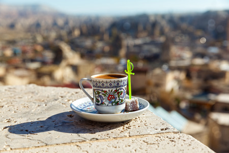 Cup of Turkish coffee on the background of the city of Turkey Stock Photo