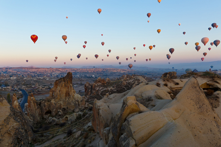 Hot air balloon flight over the mountains of Cappadocia Turkey 写真素材