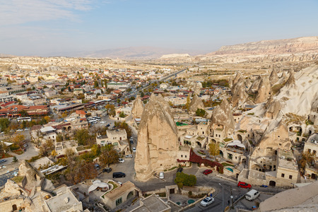 Top view of the city of Goreme in Cappadocia.