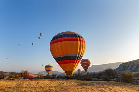Hot air balloon flight over the mountains of Cappadocia Turkey Stock Photo