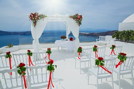 Place for wedding ceremony on the background of the sea, Greece Stok Fotoğraf