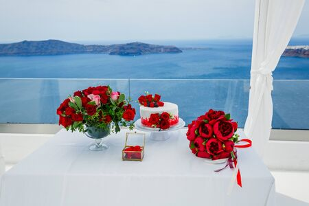 Table for wedding ceremony on the background of the sea, Greece