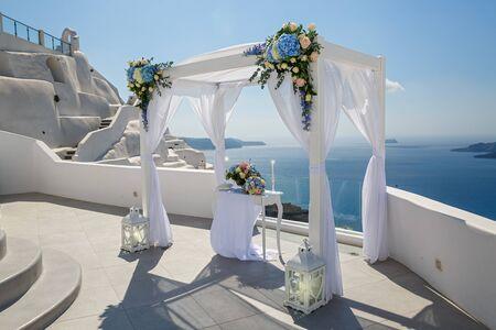 Wedding venue and decorations on the island of Santorini, Greece