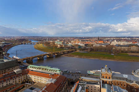 Dresden. Areal view to the river and the embankment