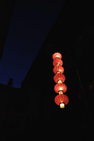 folkways: red lanterns of china in night Stock Photo