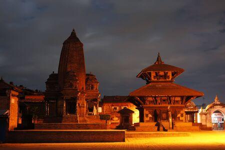 godliness: evening of durbar square,nepal   Stock Photo