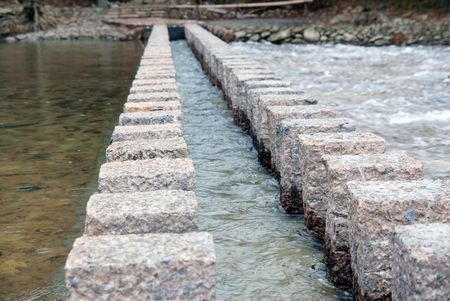 no image: Stoneway in the river Stock Photo