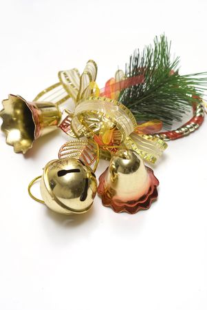 christmas bell decorations with white backgrounds photo