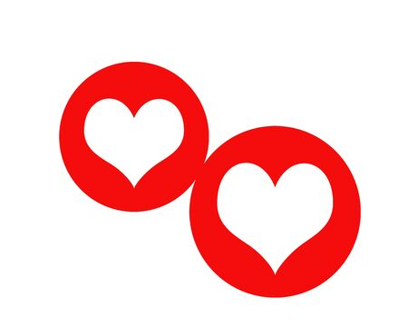 Two white hearts on red background  photo