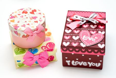 three gift boxes: three hand-made gift boxes in white background