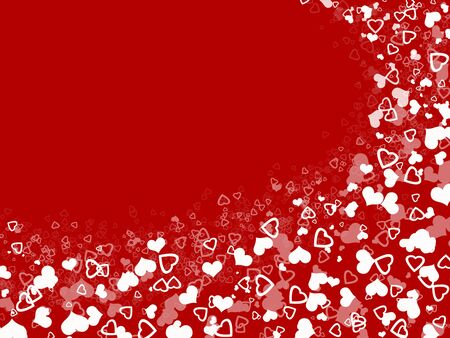 abstract white hearts shape in red background Stock Photo
