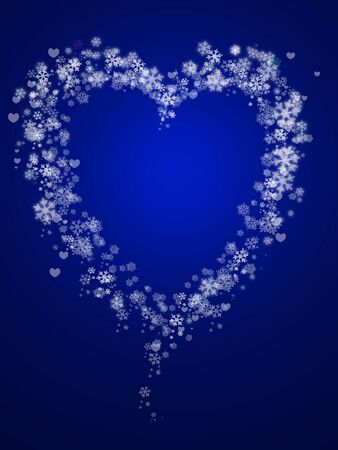 abstract snowflake and hearts shape in blue background