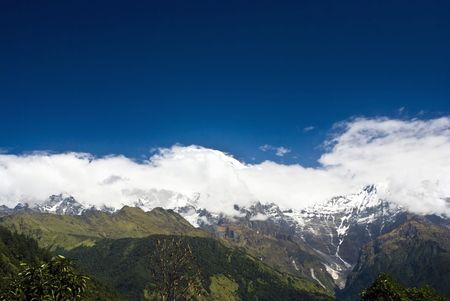 Snow Mountains Landscapes under blue sky and white clouds of Himalayas Nepal Stock Photo - 6358048
