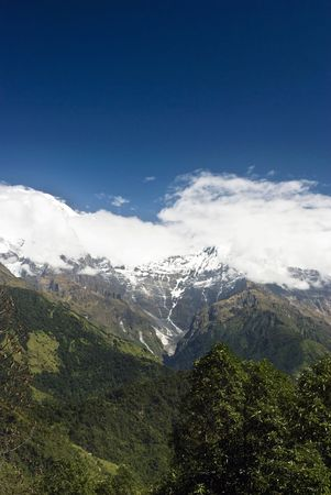 Snow Mountains Landscapes under blue sky and white clouds of Himalayas Nepal Stock Photo - 6358044