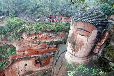 chinese buddha: Leshan Giant Buddha in Mt.Emei of china Stock Photo