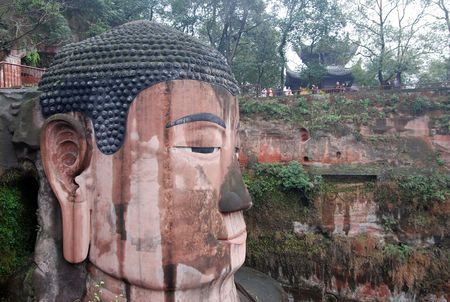 subdue: Leshan Giant Buddha in Mt.Emei of china Stock Photo
