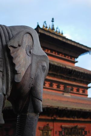 folkways: ancient elephant sculpture of durbar square, nepal