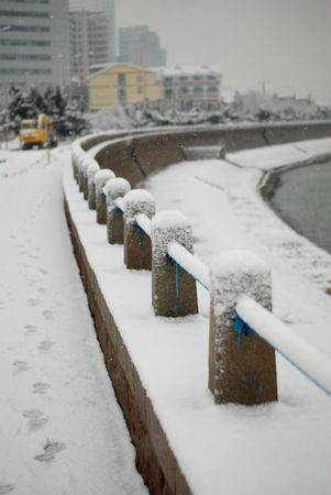 guardrail: white snow covered the guardrail of seaside