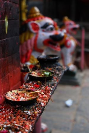 folkways: Candleholders of hinduism at nepal Stock Photo