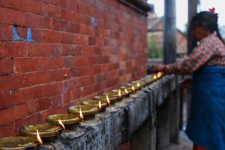 godliness: Temple candleholders at nepal