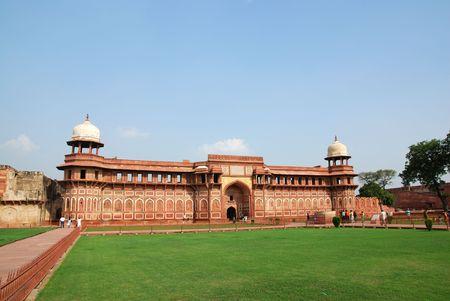 인도 아그라 요새에있는 건축 스톡 사진