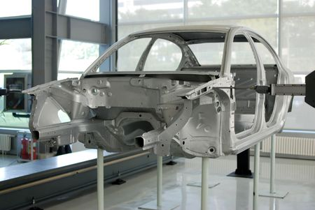 Qing Dao,China-Sep 15,2009-Car Frame and coordinate measuring machines at the Production Line  에디토리얼