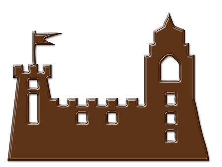 indulgence: Cartoon Castle chocolate frame isolated on white