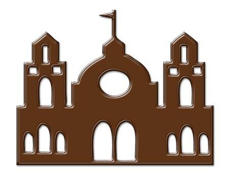 Cartoon Castle chocolate frame isolated on white photo