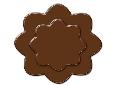 Cartoon flower shape cookies chocolate frame isolated on white photo