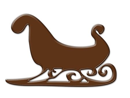 chocolate sleigh shape frame isolated on white Stock Photo - 6566000