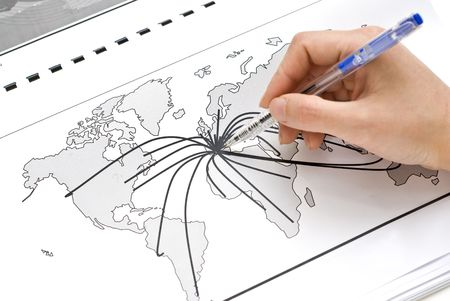 international trade: World map with lines between the worlds cities Stock Photo