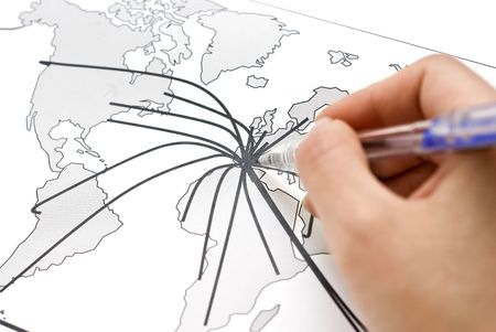 World map with lines between the worlds cities Stock Photo