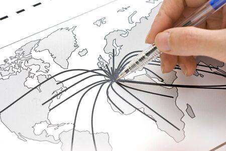 通信: マップ上のヨーロッパの中心 写真素材